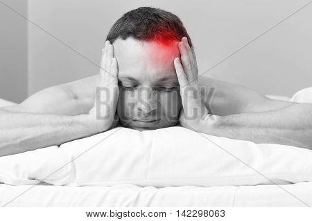 Young Man In Bed With Headache