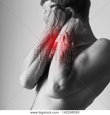 Man Blocking Pain With His Strong Hand