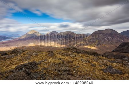 Panoramic skyline of the Glamaig on Isle of Skye - Scotland, UK