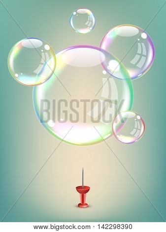 Soap bubbles hovering over a red drawing pin. Vector Illustration