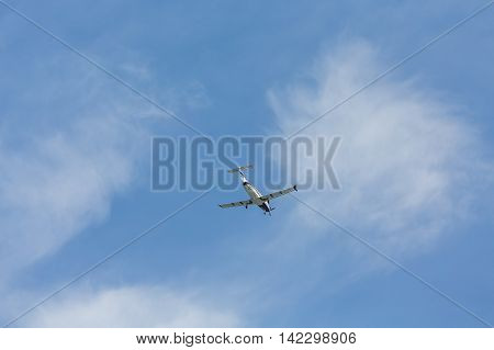 A Single Prop Plane from Below on sky