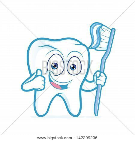 Clipart picture of a tooth cartoon character holding toothbrush