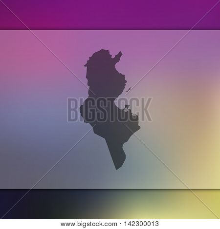 Tunisia map on blurred background. Blurred background with silhouette of Tunisia. Tunisia. Blurred background. Tunisia silhouette. Tunisia vector map. Tunisia flag.