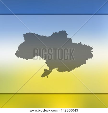 Ukraine map on blurred background. Blurred background with silhouette of Ukraine. Ukraine. Blurred background. Ukraine silhouette. Ukraine vector map. Ukraine flag.