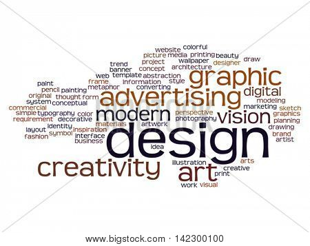 Vector oncept conceptual creativity art graphic design visual word cloud isolated on background