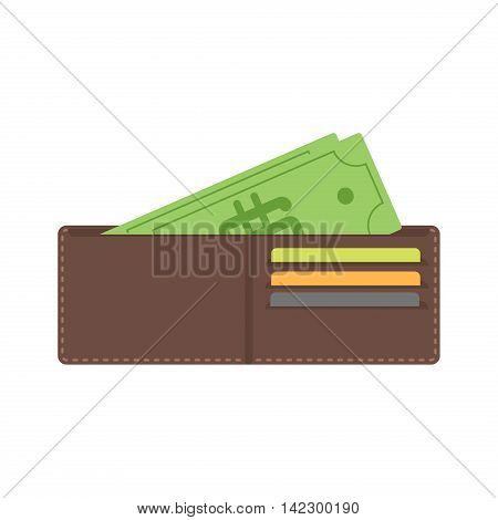 Money in wallet flat vector design for business and finance vector. Business credit open wallet finance money currency. Opened wallet flat style icon. With plastic cards financial dollar and cash.