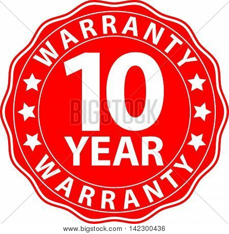 10 Year Warranty Red Sign, Vector Illustration