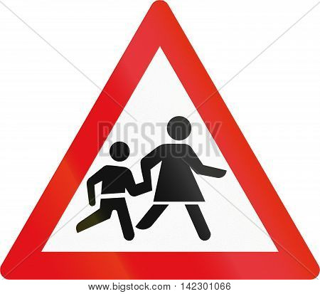 Road Sign Used In The African Country Of Botswana - Children