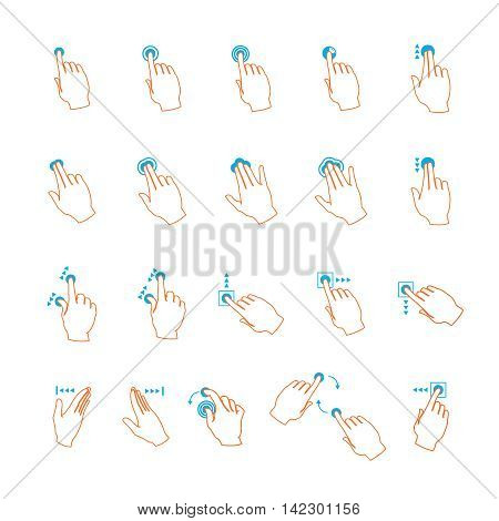Vector touchscreen maintenance hand gestures set in outline style