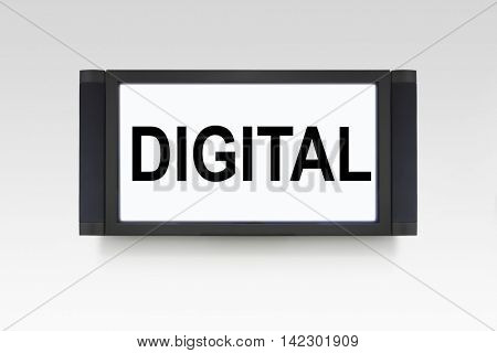 Digital television on white wall