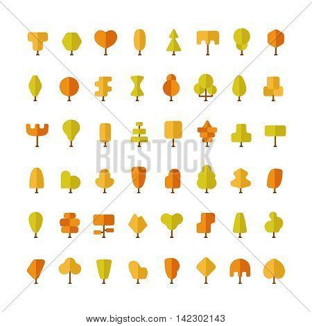 Flat Vector Autumn Trees Bundle In Flat Style