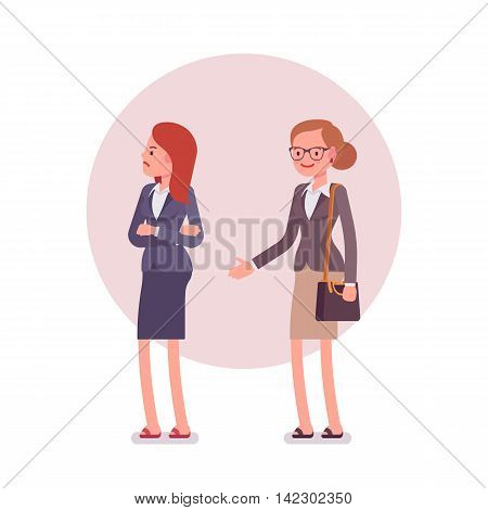 Rejection of handshake. Two women in a formal wear. Cartoon vector flat-style business concept illustration