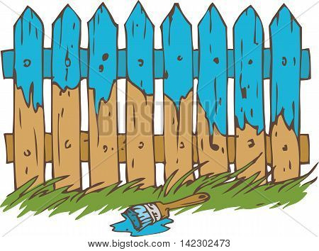 Blue Wooden Fence with Paintbrush and Green Grass. Painting Process Isolated on a White