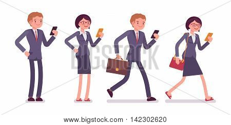 Office workers with smartphones. Men and women in a formal wear. The set of characters isolated against the white background. Cartoon vector flat-style business illustration