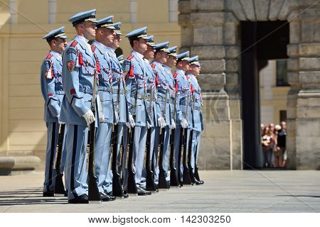 PRAGUE CZECH REPUBLIC - AUGUST 08 2016: Changing of the Guards ceremony on August 08 2016 in Prague. It takes place in Prague Castle at 12.00 daily and attracts many tourists and cityziens.