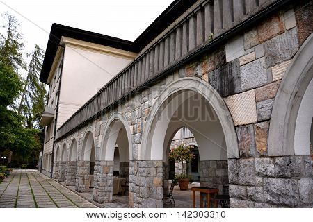 Architectural detail of the arches on the building located in Bled, Slovenia