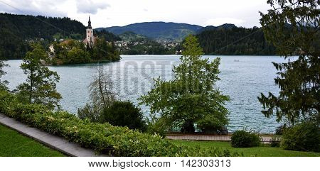 Catholic church situated on an island on Bled, Slovenia