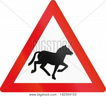 Road Sign Used In The African Country Of Botswana - Horses