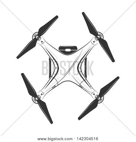 Vector monochrome picture of drone top view. Illustration for labels, badges and logos design. Isolate on white background