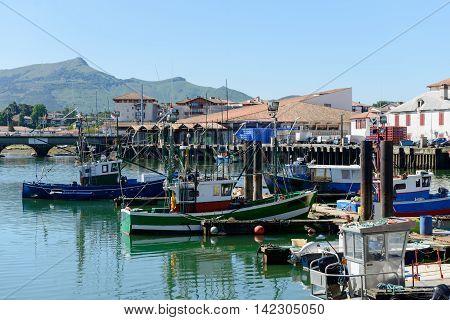 Fishing boats in the port of Saint Jean de Luz in France
