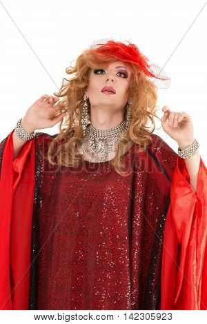 Portrait Drag Queen In Woman Red Dress Performing