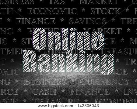 Currency concept: Glowing text Online Banking in grunge dark room with Dirty Floor, black background with  Tag Cloud