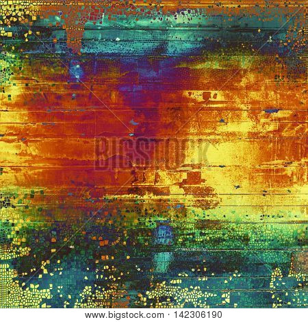 Retro vintage style elements on aged grunge texture. With different color patterns: yellow (beige); green; blue; red (orange); purple (violet); pink