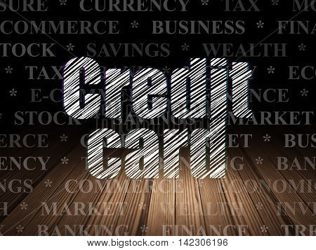 Money concept: Glowing text Credit Card in grunge dark room with Wooden Floor, black background with  Tag Cloud