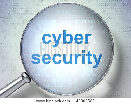Security concept: magnifying optical glass with words Cyber Security on digital background, 3D rendering