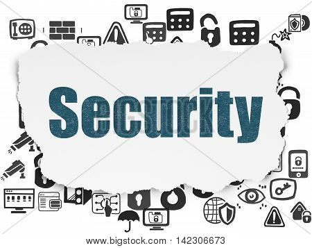 Security concept: Painted blue text Security on Torn Paper background with  Hand Drawn Security Icons