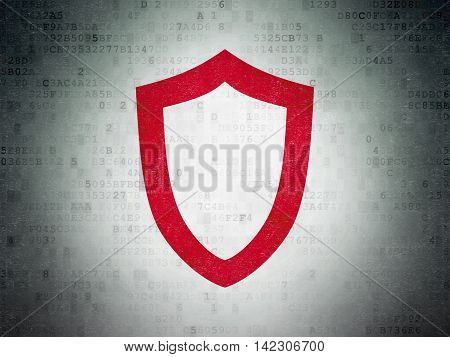 Security concept: Painted red Contoured Shield icon on Digital Data Paper background