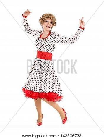 Portrait Drag Queen In Woman Dress Performing