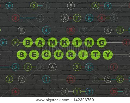Privacy concept: Painted green text Banking Security on Black Brick wall background with Hexadecimal Code
