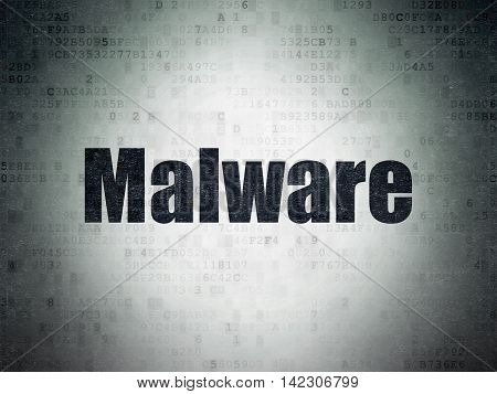 Privacy concept: Painted black word Malware on Digital Data Paper background