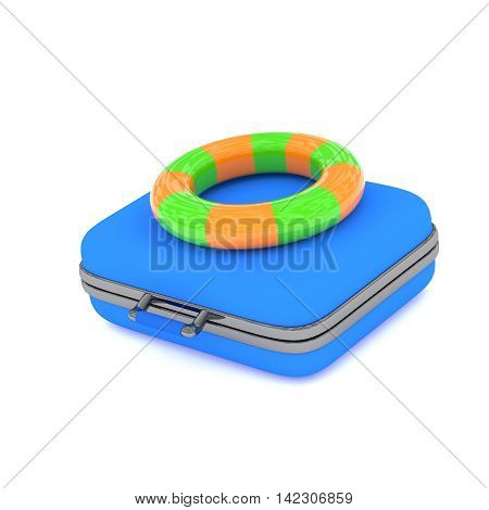 Blue luggage with a colorful floating ring on a white background 3d rendering