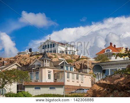 Historic old wooden houses or villas in Lysekil Sweden
