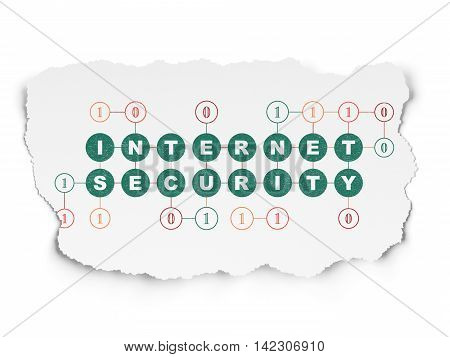 Privacy concept: Painted green text Internet Security on Torn Paper background with Scheme Of Binary Code