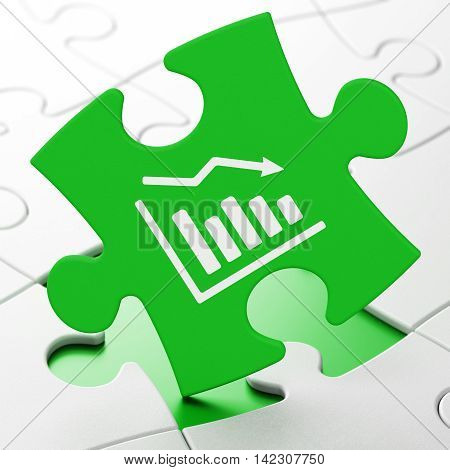 Finance concept: Decline Graph on Green puzzle pieces background, 3D rendering