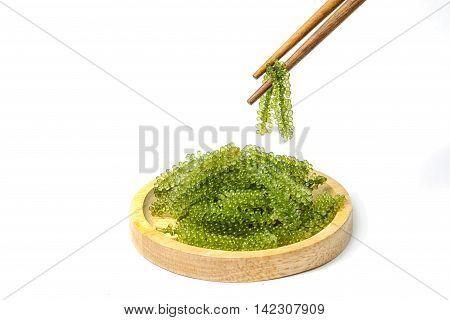 Chopsticks with sea grapes ( green caviar ) seaweed Healthy food.