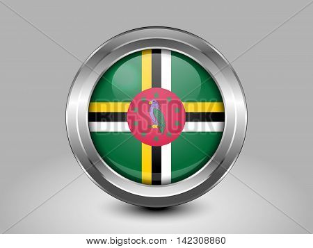 Flag Of Dominica. Metal And Glass Round Icon