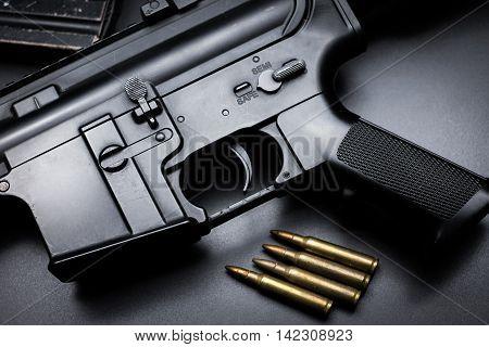M4A1 assault rifle on black background ,