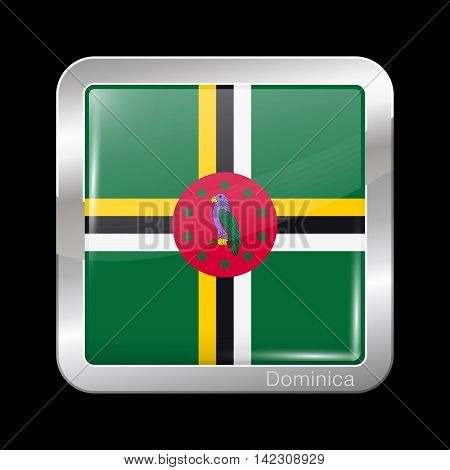 Flag Of Dominica. Metal Icon Square Shape