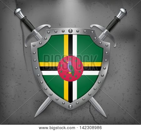 Flag Of Dominica. The Shield Has Flag Illustration. Vector Medieval Background