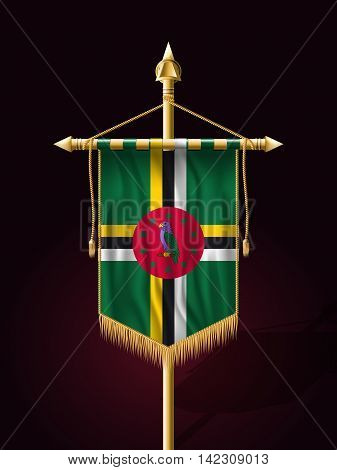Flag Of Dominica. Festive Banner Vertical Flag With Flagpole