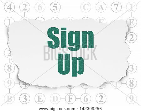 Web development concept: Painted green text Sign Up on Torn Paper background with Scheme Of Hexadecimal Code
