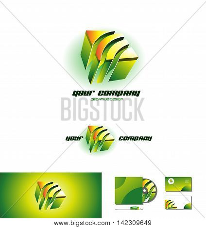 Green orange cube abstract logo design 3d icon vector company element template games media corporate business