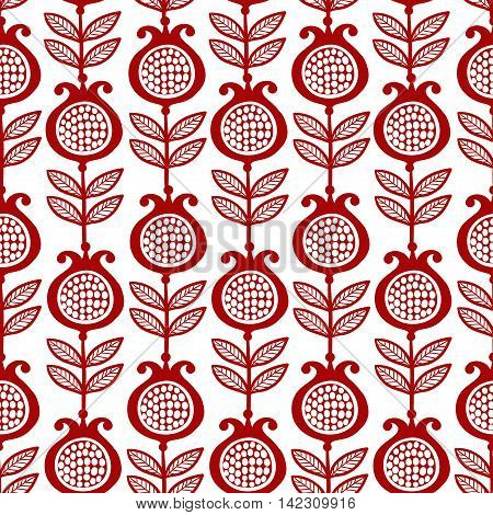 Vector seamless illustration with pomegranates on a white background. Red garnet. Pattern.