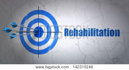 Success Health concept: arrows hitting the center of target, Blue Rehabilitation on wall background, 3D rendering