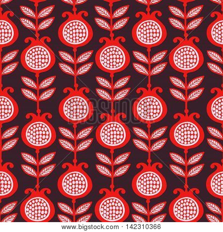 Vector seamless illustration of pomegranates. Bright garnet red with white grains on a dark background. Pattern.