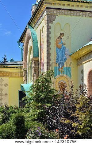 Facade of the St. Paraskeva-Pyatnitsa monastery. Built in 1867. Typical masterpiece of old russian eclecticism architecture in Dedilovo village central region of Russia.